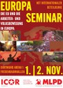 Poster des gemeinsamen Europa-Seminars von ICOR Europe und MLPD